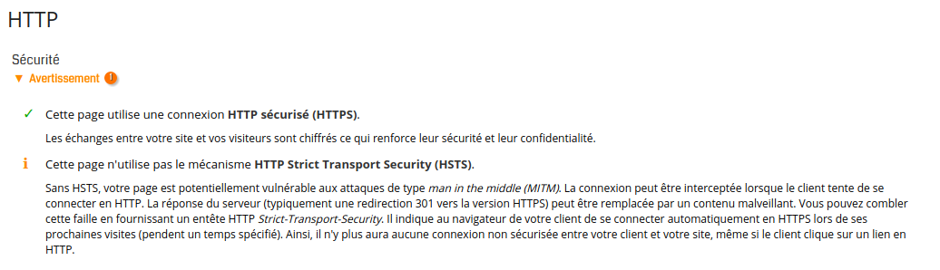 Analyse d'une page sans HTTP Strict Transport Security