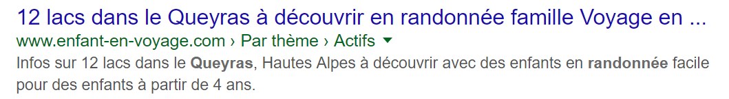 Exemple de titre trop long sur Google